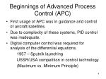beginnings of advanced process control apc