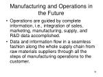 manufacturing and operations in the future