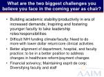 what are the two biggest challenges you believe you face in the coming year as chair2