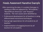 needs assessment narrative example