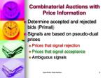 combinatorial auctions with price information