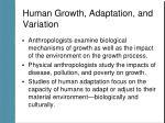 human growth adaptation and variation
