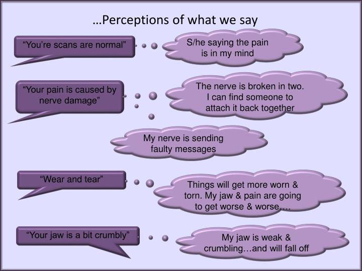 …Perceptions of what we say