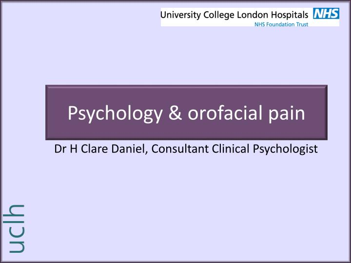 psychology orofacial pain n.