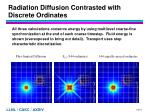 radiation diffusion contrasted with discrete ordinates