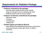 requirements for radiation package