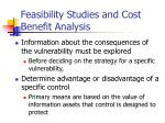 feasibility studies and cost benefit analysis