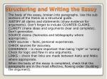 structuring and writing the essay