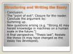 structuring and writing the essay1