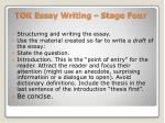 tok essay writing stage four