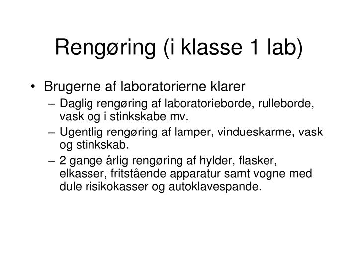 Rengøring (i klasse 1 lab)