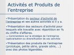 activit s et produits de l entreprise