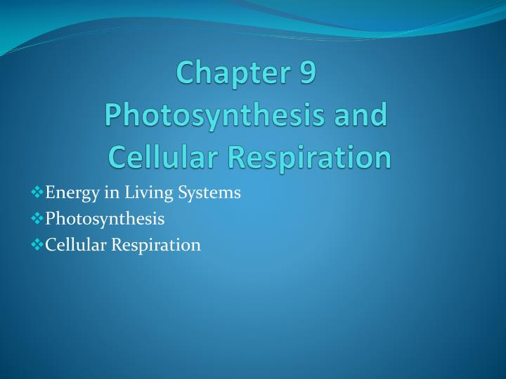 chapter 9 photosynthesis and cellular respiration n.