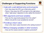 challenges of supporting functions