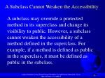 a subclass cannot weaken the accessibility