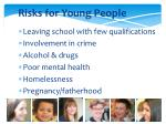 risks for young people