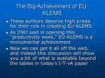 the big achievement of eu klems