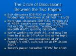 the circle of discussions between the two papers