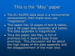 this is the may paper