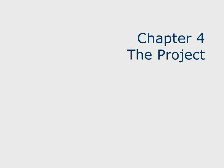 chapter 4 the project n.