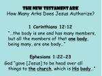 the new testament ark how many arks does jesus authorize