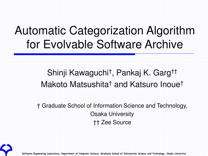 automatic categorization algorithm for evolvable software archive n.