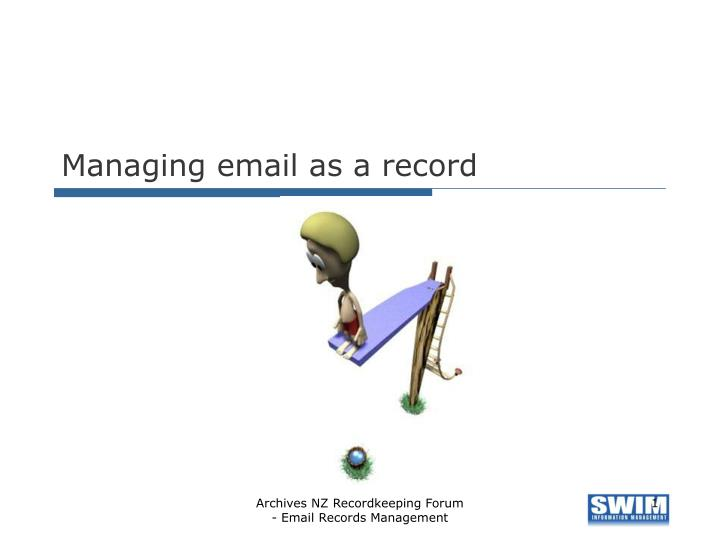 managing email as a record n.