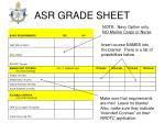 asr grade sheet