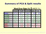 summary of pca split results