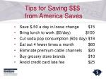 tips for saving from america saves