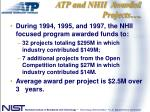 atp and nhii awarded projects