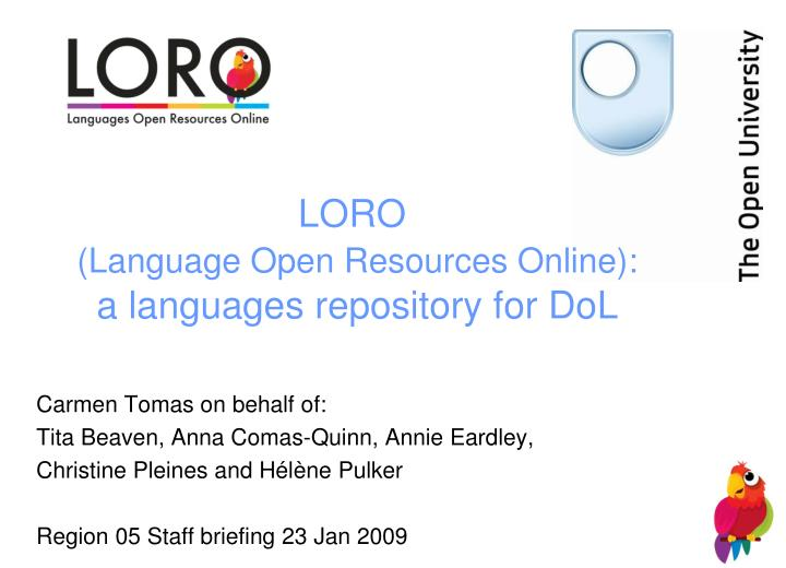 loro language open resources online a languages repository for dol n.