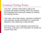 common testing terms