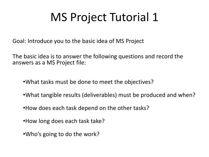 ms project tutorial 1 n.