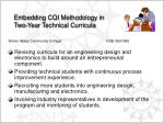embedding cqi methodology in two year technical curricula