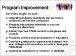 program improvement