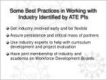some best practices in working with industry identified by ate pis