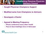 establishing planetree physician advisory council