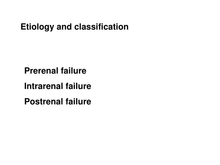 Etiology and classification