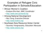 examples of refugee civic participation in schools education
