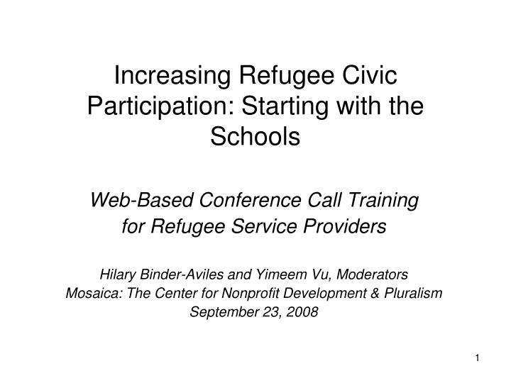 increasing refugee civic participation starting with the schools n.