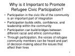 why is it important to promote refugee civic participation