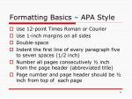 formatting basics apa style