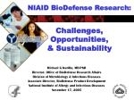 niaid biodefense research challenges opportunities sustainability