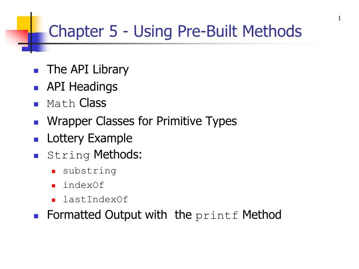 chapter 5 using pre built methods n.