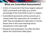 what are controlled assessments