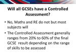 will all gcses have a controlled assessment