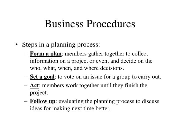 Business Procedures