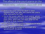 the effect of the court scene on the relationship between elizabeth and john
