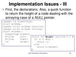 implementation issues iii